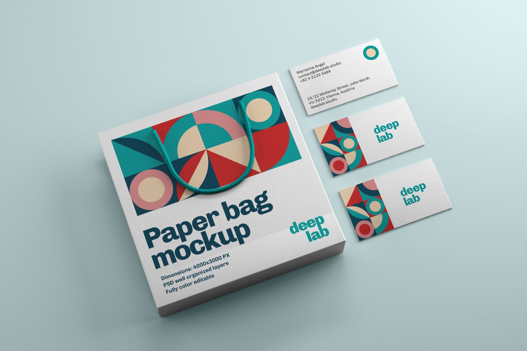 Paper Bag PSD Mockup Template with Business Cards