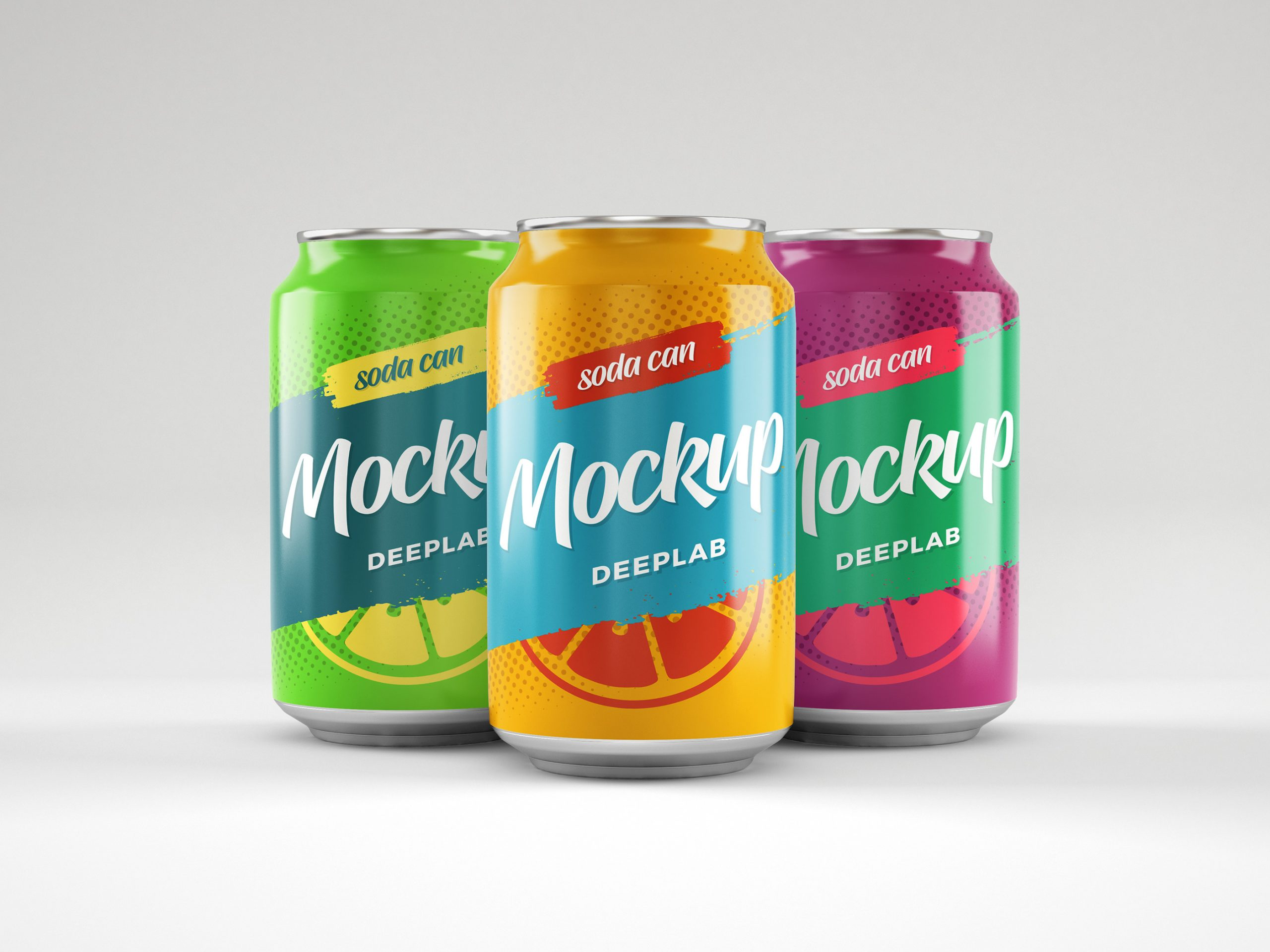 Soda can mockup with editable background color psd