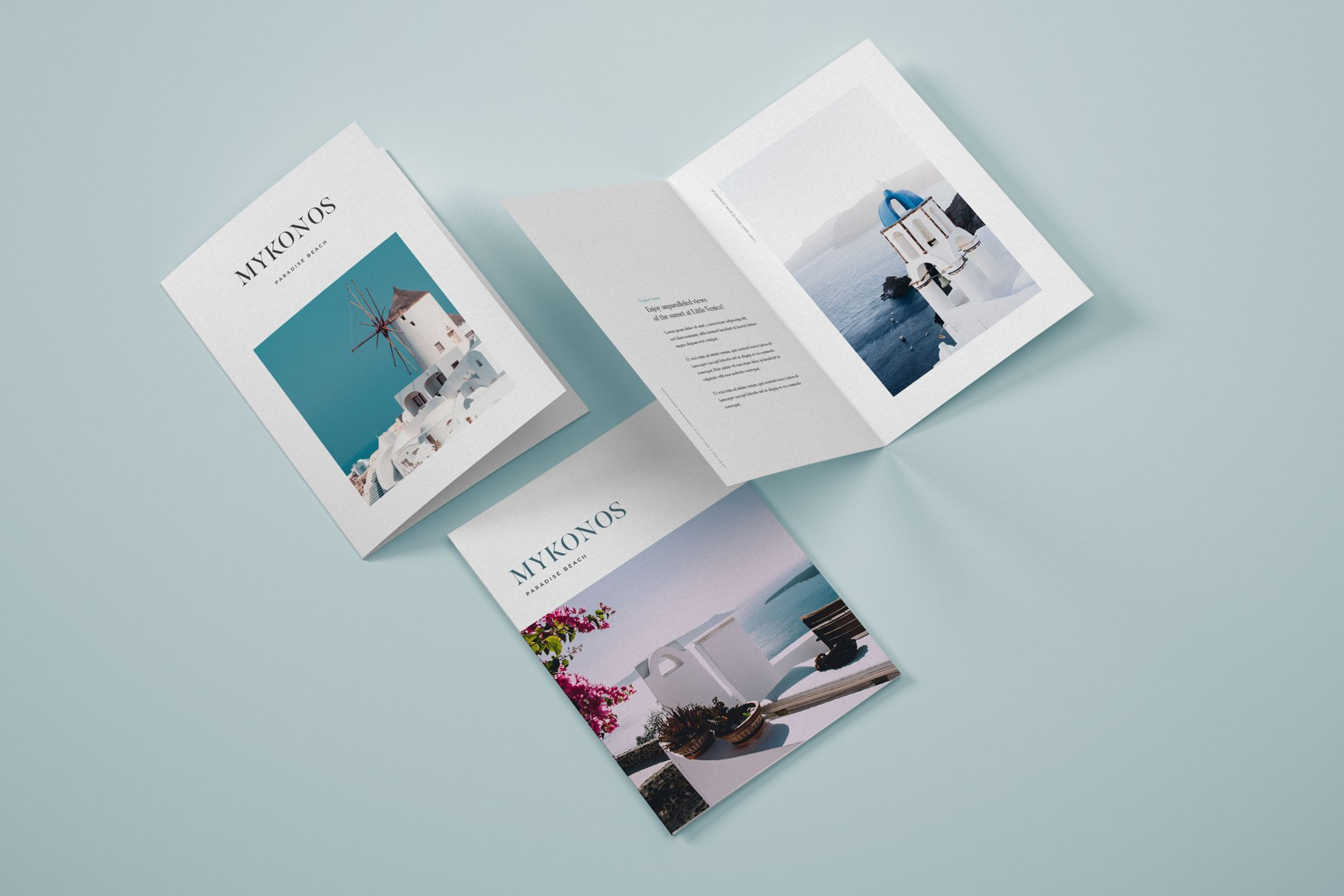 Vertical Bifold Brochure PSD Mockup Template with Overlay Shadow