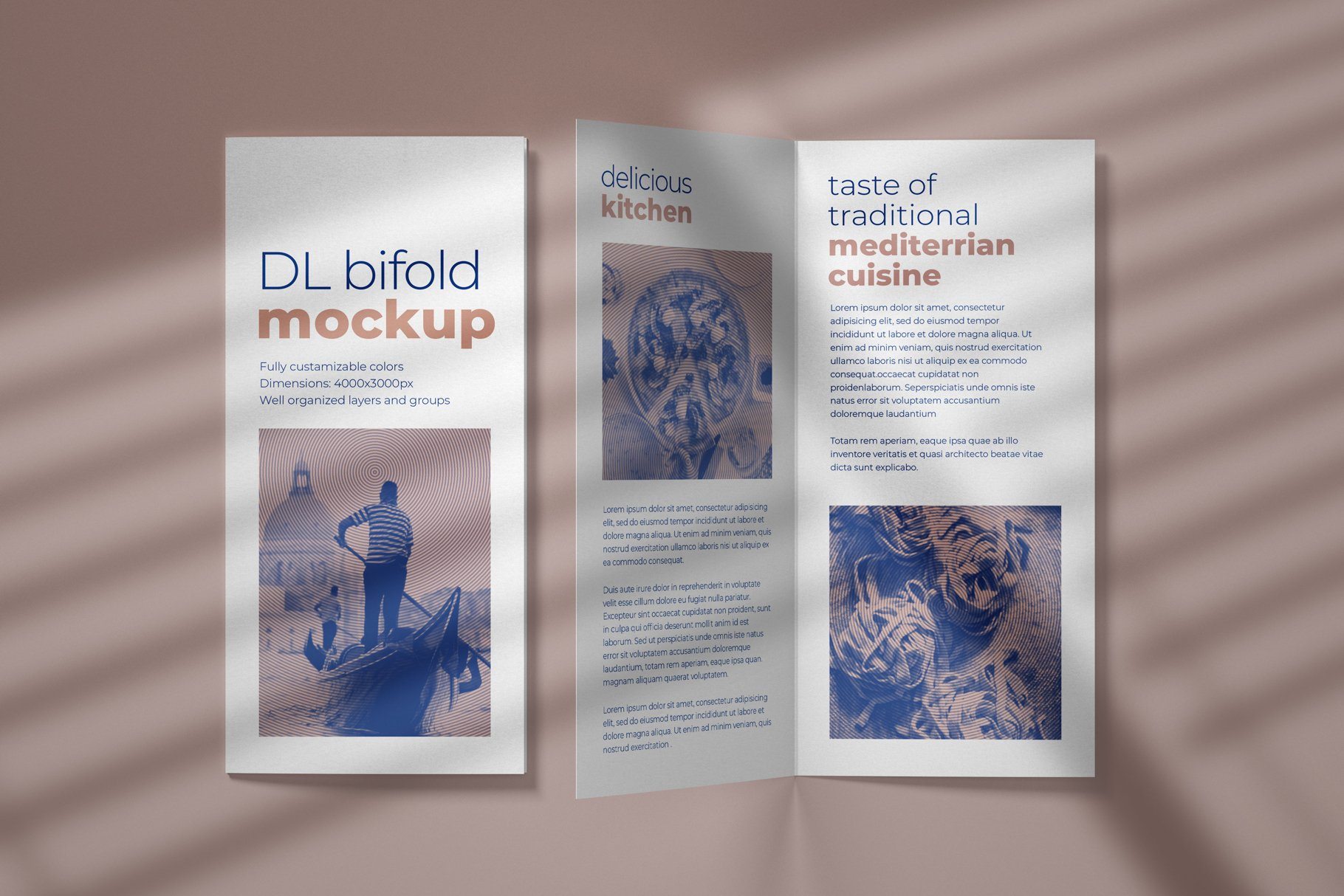 DL Bifold Brochure PSD Mockup Template with Overlay Shadow