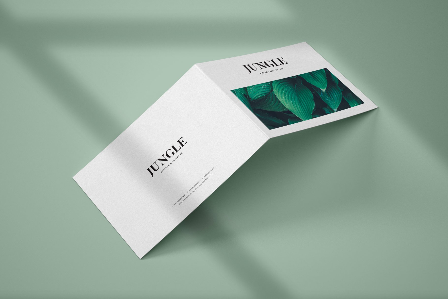 Horizontal Bifold Brochure PSD Mockup Template with Overlay Shadow