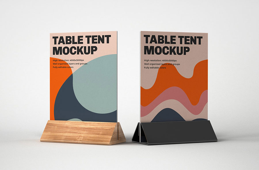 Premium Realistic Table Tent PSD Mockup Template