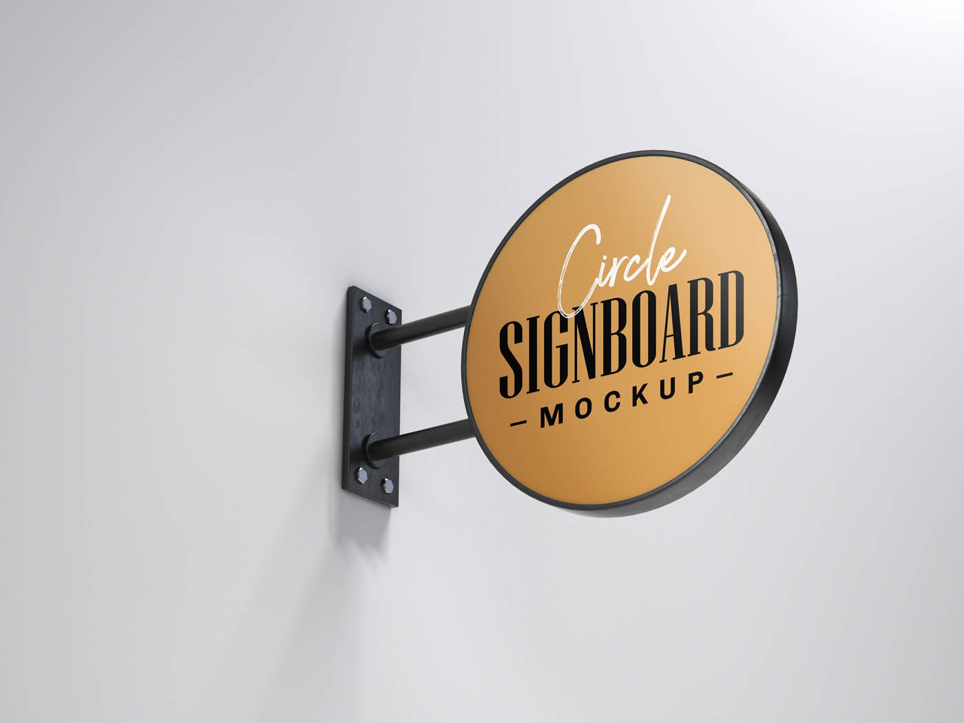 Premium Realistic Wall Logo Sign PSD Mockup Template